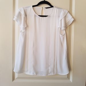 Zara Cap Flutter Sleeve Blouse with Pleating